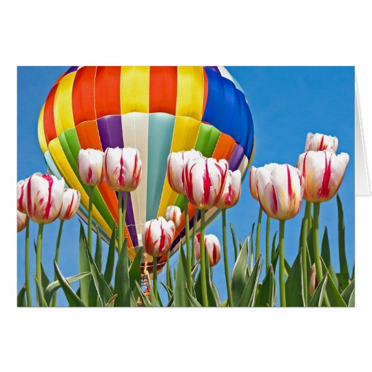 Hot air balloon with spring tulips card