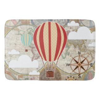 Hot Air Balloon & World Map Vintage Adventure Bath Mat