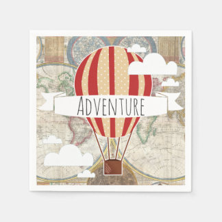 Hot Air Balloon & World Map Vintage Adventure Paper Napkins