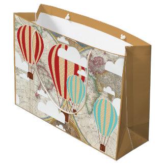 Hot Air Balloon & World Map Vintage Traveler Large Gift Bag