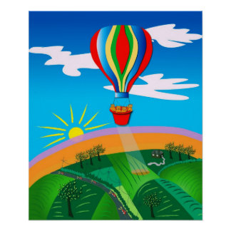 Hot Air Ballooning Folk Art Poster