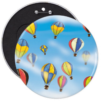 Hot Air Balloons 6 Inch Round Button