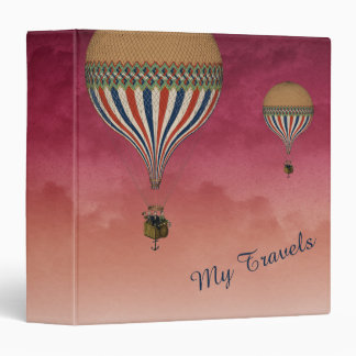 Hot Air Balloons Against Vibrant Pink Clouds Binder