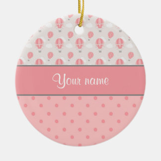 Hot Air Balloons and Polka Dots Personalized Round Ceramic Ornament