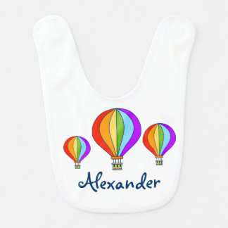 Hot air balloons baby bib personalized with name