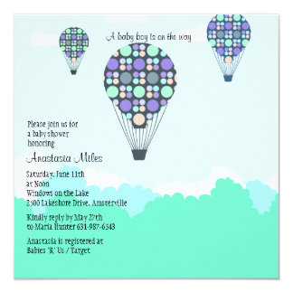 Hot Air Balloons Baby Shower Boy Invitation