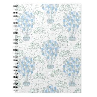 Hot air balloons blue nursery home decor wall art notebook