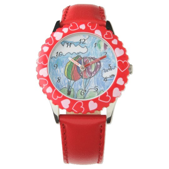 Hot Air Balloons Childs Artwork marker and crayon Wristwatches