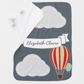 Hot Air Balloons & Clouds Traveler - Personalized Baby Blanket