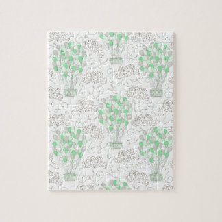 Hot air balloons green nursery decor art jigsaw puzzle