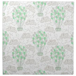 Hot air balloons green nursery decor art napkin