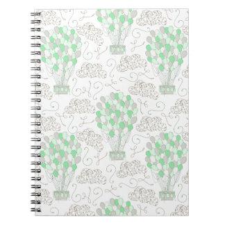 Hot air balloons green nursery decor art spiral notebook