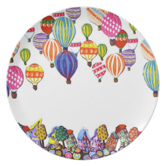 Hot Air Balloons Houses Whimsical Folk Art Plate