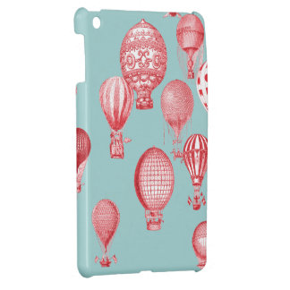 Hot Air Balloons in Flight, Red on Robins Egg Blue iPad Mini Case