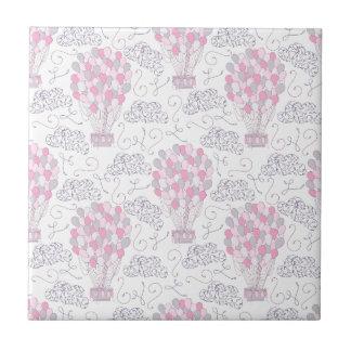 Hot air balloons in pink nursery art ceramic tile