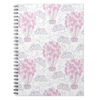 Hot air balloons in pink nursery art spiral notebook
