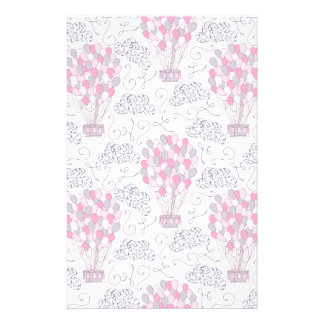 Hot air balloons in pink nursery art stationery