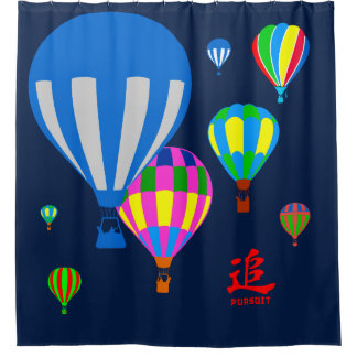 Hot Air Balloons in the sky - Pursuit - on blue
