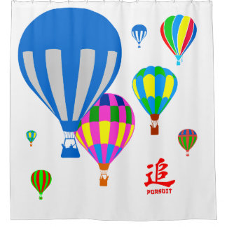 Hot Air Balloons in the sky - Pursuit - on white