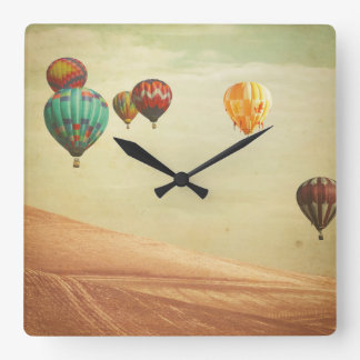 Hot Air Balloons In The Sky Square Wall Clock