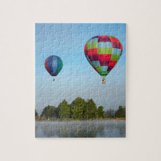 Hot air balloons over a lake,  NZ Puzzle