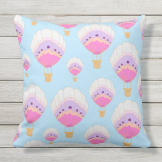 Hot Air Balloons, Pink Outdoor Pillow