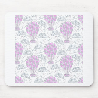 Hot air balloons purple pink nursery decor line mouse pad