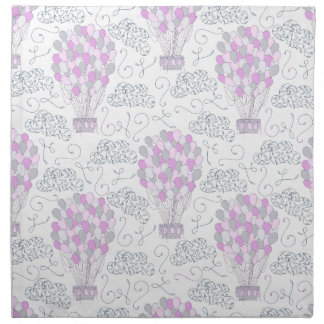Hot air balloons purple pink nursery decor line napkin