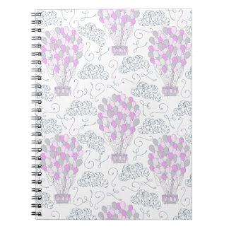 Hot air balloons purple pink nursery decor line notebook