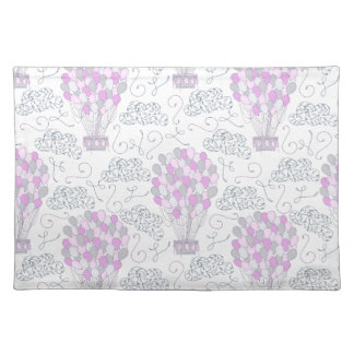 Hot air balloons purple pink nursery decor line placemat