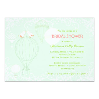 Hot Air Balloons Spring Mint Bridal Shower Card