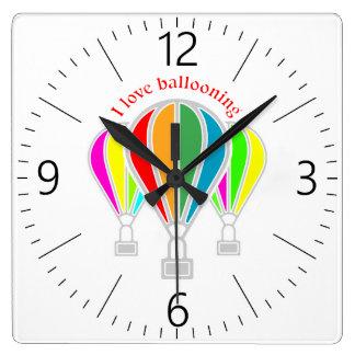 Hot air balloons square wall clock