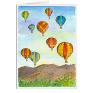 Hot Air Balloons Sunrise Mountains Happy Birthday Card