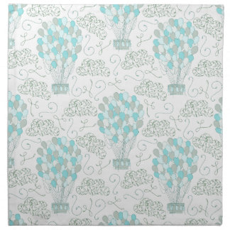 Hot air balloons turquoise blue nursery decor napkin