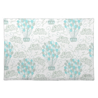 Hot air balloons turquoise blue nursery decor placemat