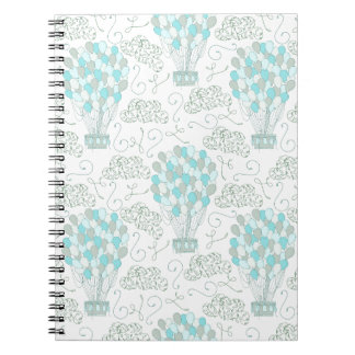 Hot air balloons turquoise blue nursery decor spiral notebook