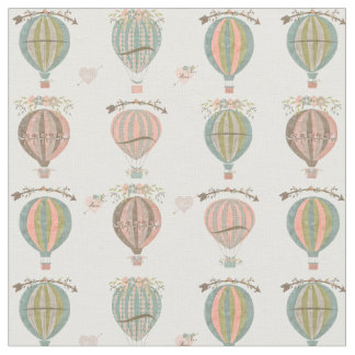 Hot Air Balloons, Vintage Floral Fabric