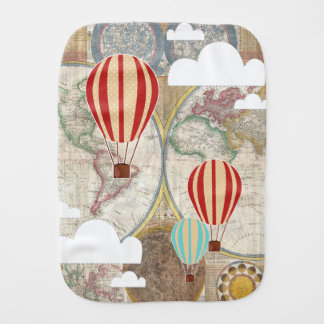 Hot Air Balloons Vintage World Adventure Burp Cloth