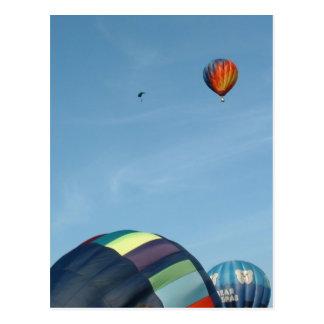 Hot air balloons, with parachute postcard