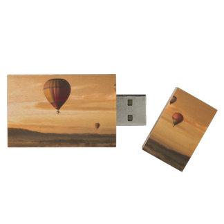 Hot air balloons wood USB 2.0 flash drive
