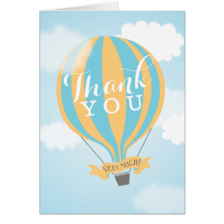 Hot Air Blue Yellow Balloon Thank You Note Card