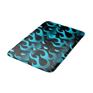 Hot blue flames bath mat