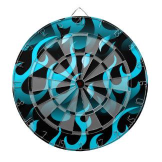 Hot blue flames dartboard