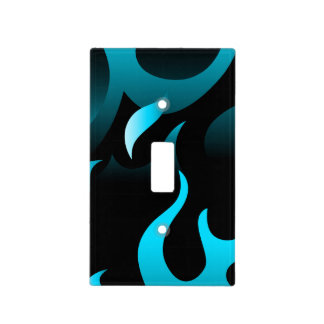 Hot blue flames light switch cover