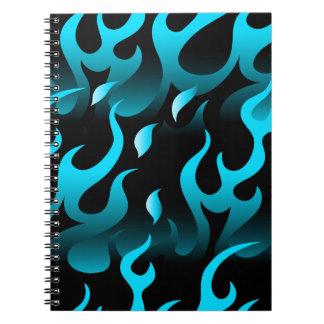 Hot blue flames notebook