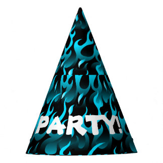 Hot blue flames party hat