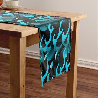 Hot blue flames short table runner