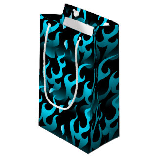 Hot blue flames small gift bag