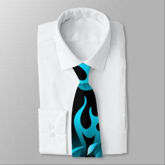 Hot blue flames tie