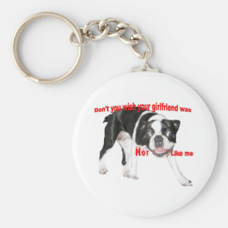 Hot Boston Terrier Basic Round Button Keychain